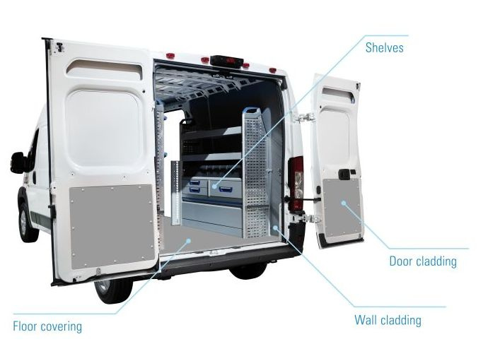 Interior cladding, cargo space cladding, wall cladding, shelving and flooring for Transporters / Sprinters, made of Foamlite®
