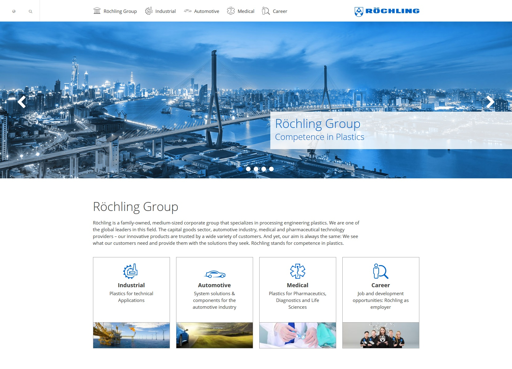 Clear Design: The Homepage of the new Röchling Group website.