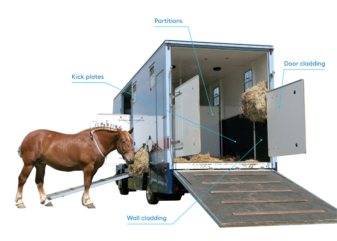 Horse trailer wall liner, interior walls, door cladding and wall cladding made of Foamlite®