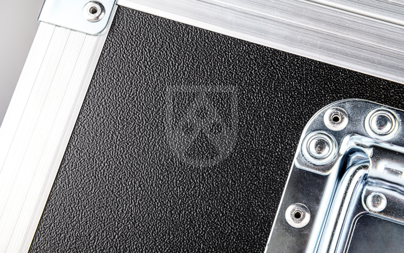Flight case panel with grained surface